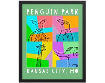 Penguin Park Fine Art framed poster