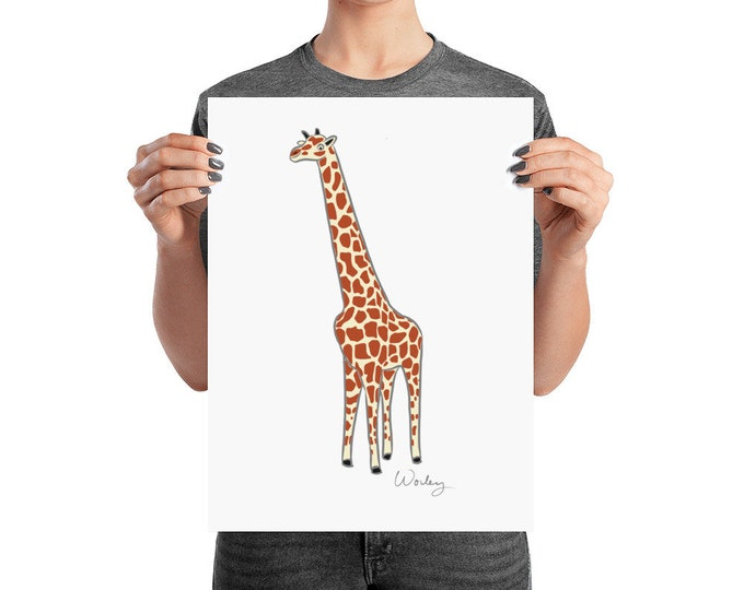 Penguin Park Giraffe - Artist's Illustration Unframed Poster