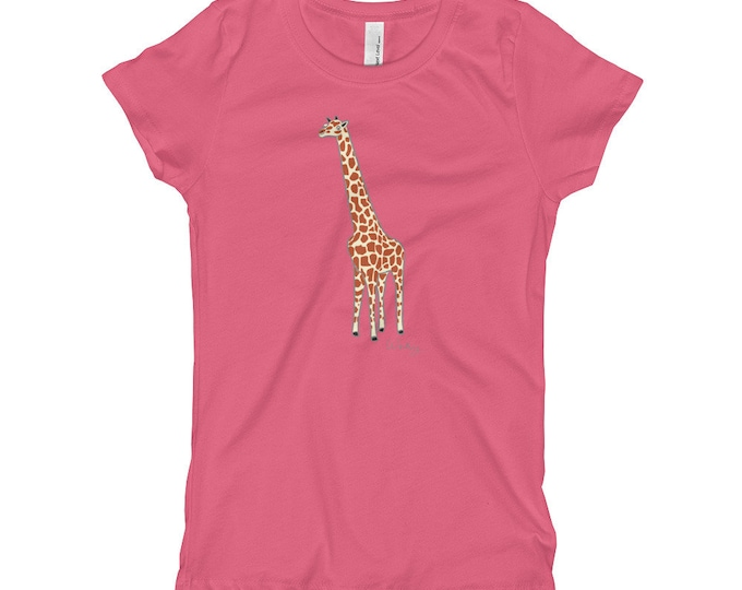 Penguin Park Giraffe Illustration Girl's T-Shirt