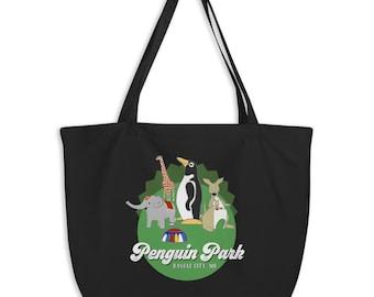 Large Penguin Park Animals organic tote bag