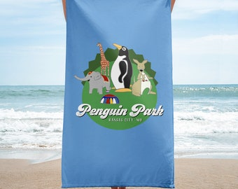 Penguin Park Animals -  Beach Towel