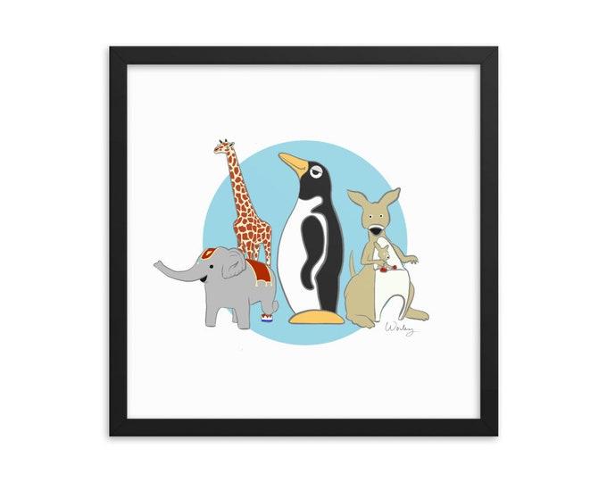 Penguin Park Animals Framed poster
