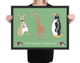 Penguin Park KC - Artist's Illustration Framed Poster