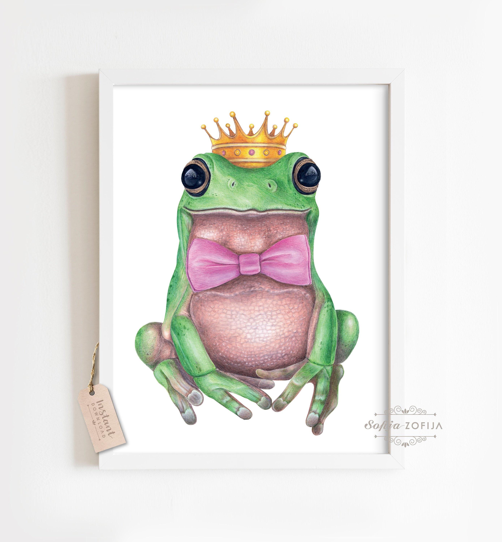 Frog Prince Art Print,dictionary art print,nursery wall decor,green toad,kids room wall art,frog art prints #20