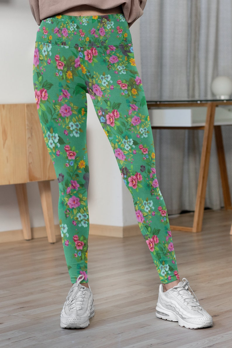 Retro Floral Yoga Leggings  Flower Leggings Up to 6XL Classic