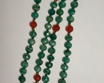 Natural Lining Amazonite 108 Faceted Round Balls Strand  6.5mm Hand Knotted Necklace  Meditation Prayer Yoga Mala