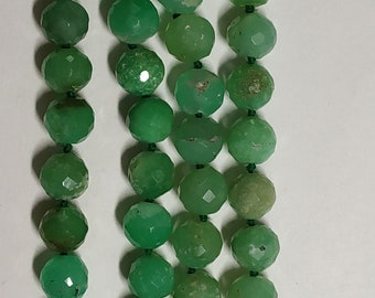 Natural Chrysoprase 108 Faceted Round Balls Strand  width:- 7.5 mm Hand Knotted Necklace  Meditation Prayer Yoga Mala