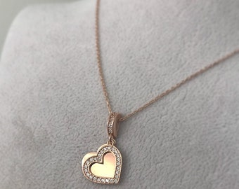 Heart Necklace - 925 k Sterling Silver -Opened Heart Necklace-Special Necklace -Zircone stone -- Special Day Necklace - HRT1
