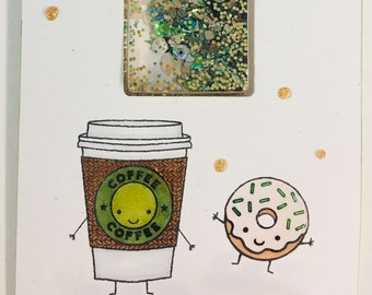 Coffee/donut themed shaker card with envelope Blank inside