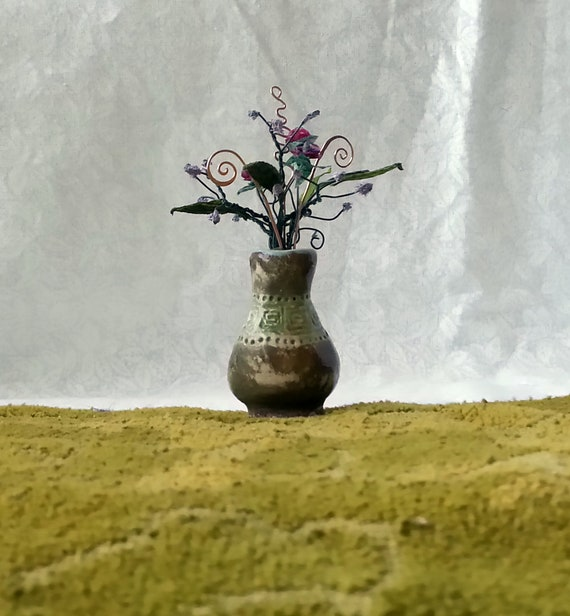 Tiny Vase With Flowers Miniature Flower Vase Doll House Etsy