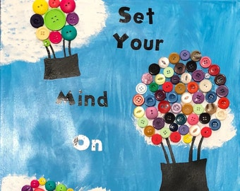 "Set your mind on things above - Hot Air Balloon Button Wall Hanging — 8"" x 10"""