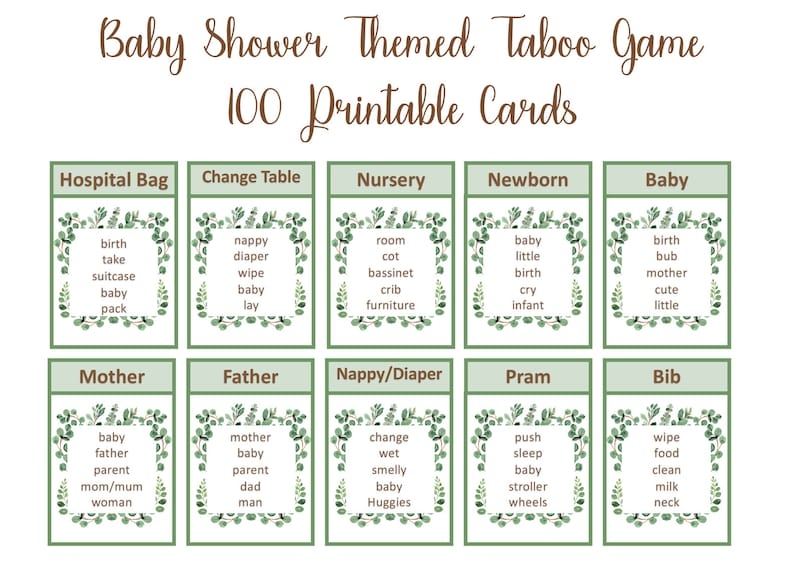 graphic about Taboo Cards Printable named Eucalyptus kid shower taboo activity, greenery, Instantaneous Electronic Down load