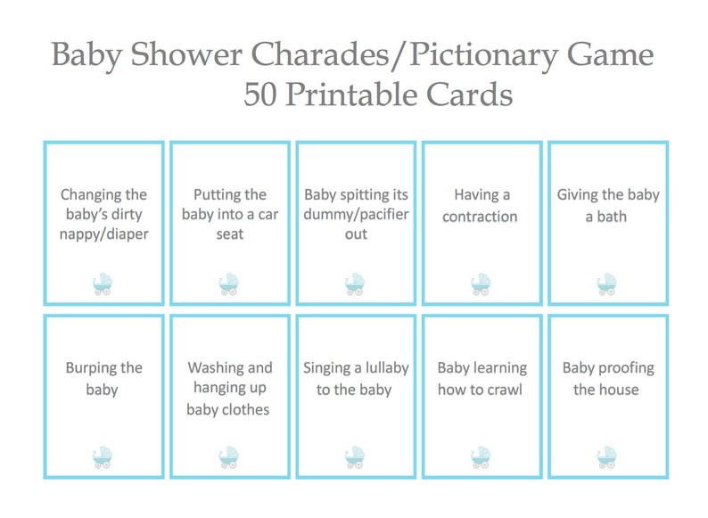 graphic regarding Charades Printable named Little one shower charades pictionary recreation- 50 alternative playing cards, blue and grey- kid boy- Printable, Instantaneous Electronic Down load