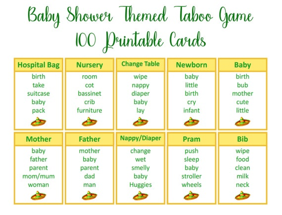 picture regarding Taboo Cards Printable known as Fiesta Boy or girl Shower Taboo Recreation, mexican little one shower match, printable taboo playing cards