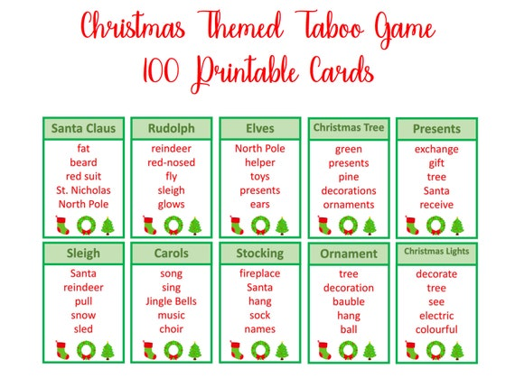 Christmas party game Instant Digital Download Christmas Taboo Game Christmas Printable game 100 printable cards