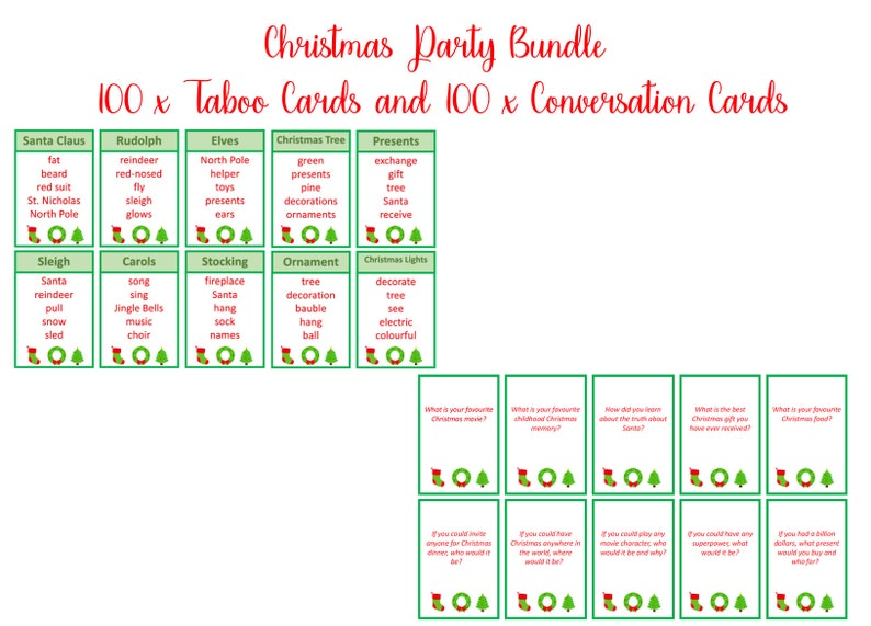 graphic relating to Printable Taboo Cards named Xmas Taboo and Xmas Interaction Starters, Xmas printable, Fast Electronic Down load