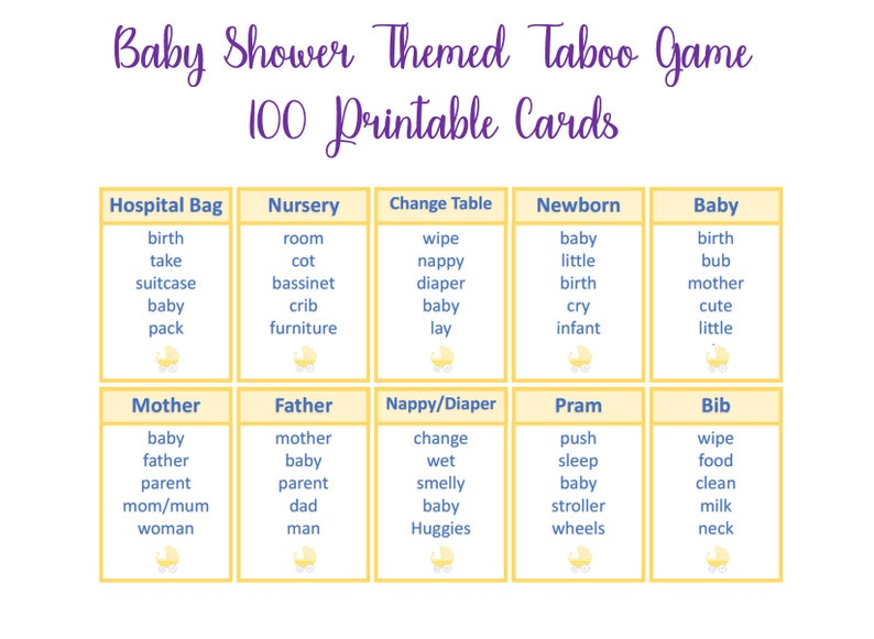 image about Taboo Game Cards Printable identified as Yellow Youngster Shower recreation, Taboo playing cards , Unspeakable Sport, impartial boy or girl shower game titles, printable