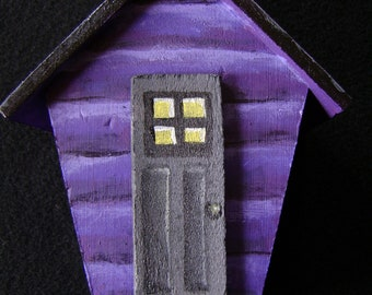 Hand Painted Witch House Mini Birdhouse