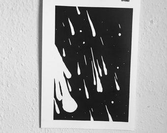 Meteor lino print