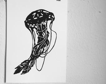 Black jellyfish lino print