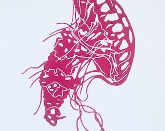 Pink jellyfish lino print