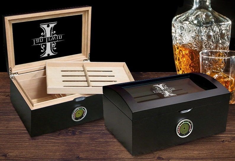 Wood Cigar Case Personalized Dome Humidor with Name Modern Humidor Cigar Box Digital Humidor with Hygrometer