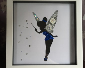 Beautiful Sparkly Blue Fairy with silver wings