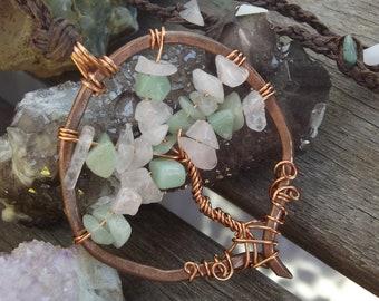 Rose Quartz and Green Aventurine copper tree of life