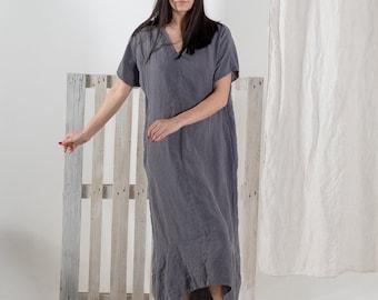 Linen dress. Linen dress for women. Linen tunic dress. White Summer linen dress. Stonewashed linen dress loose fit made by moostore #1