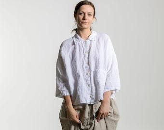 White Linen shirt,  Linen shirt  women, 3/4 sleeves  shirt , plus size shirt, tunic shirt , boho shirt ,summer shirt made by moostore