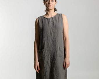 Linen tunica dress. Linen dress for women. Linen clothing for women.Knee length dress. Stonewashed linen dress loose fit made by moostore #1