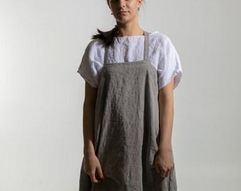 Natural Linen  strap dress. Linen dress for women. Linen tunic dress. Linen pinafore dress , linen jumper  dress  by moostore #1