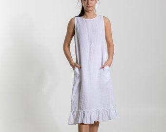Linen dress. Linen dress for women. Linen tunic dress. White Summer linen dress. Relaxed fit  linen dress ,made by dressMeLinen#1