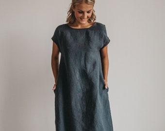 Linen dress  ALICE  .Knee length  dress . Short sleeves  dress