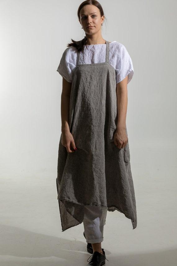 Mini Apron dress Linen Pinafore Dress Jumper Linen Dress Slip Women Summer Dress