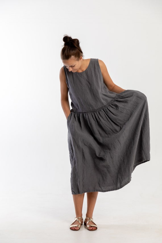 Linen dress SUSAN. Grey linen dress, ruffle waist linen dress. Linen tunic dress, linen clothing for women, sleevless