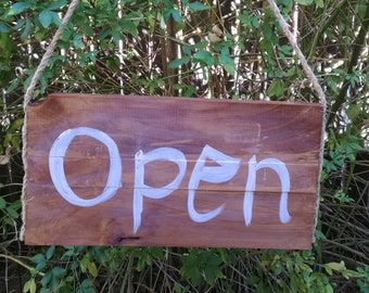Handmade rustic wooden open/closed sign