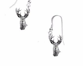 Pair of White Tailed Deer  on hook Earrings sterling silver 925 jewellery jewelry Code A22