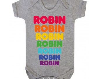 de0bc55a0 Personalised babygrow / baby onesie retro rainbow design (dunkin donuts  style font)