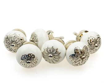Set of 6 No. 106GN white Indian furniture buttons, décor rosette furniture handles furniture button furniture knob ceramic shabby chest of drawers