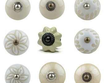 1 Furniture Button Shabby Style cream white (No.3) hand painted Indian furniture buttons furniture handles furniture button furniture knob ceramic Shabby Vintage