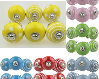 Set of 6 classic mix hand painted Indian furniture buttons furniture handles furniture button furniture knob ceramic shabby chest of drawers vintage gray blue pink ..