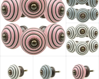 1 pc or 6 pcs furniture button etched rings A hand painted Indian furniture buttons furniture handles furniture button furniture knob ceramic chest of drawers pink grey white