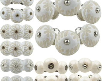 6x Furniture Button White etched Pearly Hand-Painted Indian Furniture Buttons Furniture Handles Furniture Knob Furniture Knob Ceramic Shabby Chest of Drawers