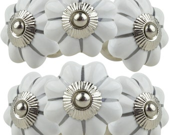 6x Furniture button 15004-E 053GN white silver hand painted Indian furniture buttons furniture handles furniture button furniture knob ceramic shabby chest of drawers