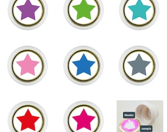 1x Set of 6 Colorful Little Furniture Buttons Star (Filled) Plastic Furniture Handles Furniture Knob Furniture Knob Shabby Chest of Drawers (Supplied with Screw)