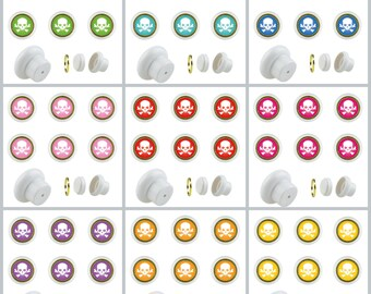 Set of 6 Small Furniture Buttons Plastic Skull Furniture Handles Furniture Button Furniture Knob Ceramic Shabby Chest of Drawers No.101 (Supplied with screw)