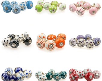 Set of 6 Hand Painted Indian Furniture Buttons Furniture Handles Furniture Button Furniture Knob Pattern Mix Ceramic No. 51