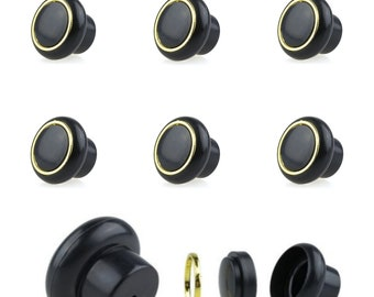 Set of 6 Small Black Furniture Buttons Plastic Furniture Handles Furniture Knob Furniture Knob Shabby Chest of Drawers Vintage (Supplied with Screw)