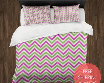 PINK and GREEN Chevron Duvet Cover & Pillow Shams ONLY, Dorm Bedding, College Bedding, Queen King Bedding, Teen Bedding, Comforter Cover
